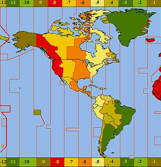 North America Zone Map - Map of us showing time zones